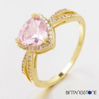 Cincin Wanita Import Size 7 Real 18K Gold Plated Beautiful Triangle Design Pink Zircon Woman Ring 629