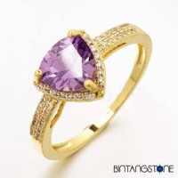 Cincin Wanita Import Size 7 Real 18K Gold Plated Beautiful Triangle Design Purple Zircon Woman Ring 630