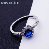 Cincin Wanita Import Size 7 Real 18K White Gold Plated Blue Round Cubic Zircon Woman Ring 631