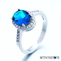 Cincin Wanita Import Size 7 Real 18K White Gold Plated Blue Aqua Round Cubic Zircon Woman Ring 638