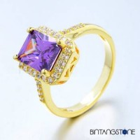 Cincin Wanita Import Size 6 7 Real 18K Gold Plated Purple Zircon Rectangle Womens Ring 644