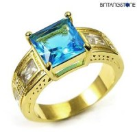 M1G Cincin Pria Blue Aquamarine 10KT Yellow Gold Plated Ring