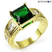 M1G Cincin Pria Green Emerald 10KT Yellow Gold Filled Ring
