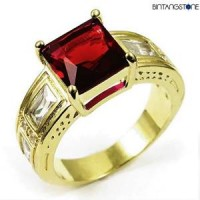 M1G Cincin Pria Red Ruby 10KT Yellow Gold Filled Ring Import