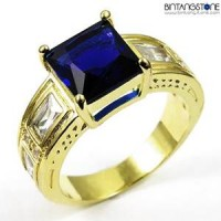 M1G Cincin Pria Blue Sapphire 10KT Yellow Gold Plated Ring
