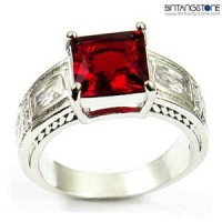 M1W Cincin Pria Red Ruby 10KT White Gold Filled Ring