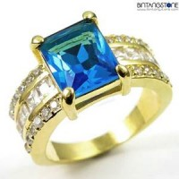M2G Cincin Pria Aquamarine Blue 10KT Yellow Gold Plated Ring M2G