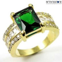 M2G Cincin Pria Import Green Emerald 10KT Yellow Gold Filled Ring