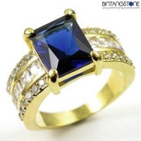 M2G Cincin Pria Import Blue Sapphire 10KT Yellow Gold Filled Ring