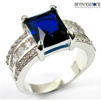 M2W Cincin Import Blue Sapphire 10KT White Gold Plated Ring