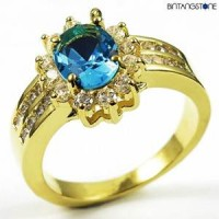 M3G Cincin Import Blue Aquamarine 10KT Yellow Gold Plated Ring