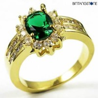 M3G Cincin Import Green Emerald 10KT Yellow Gold Plated Ring