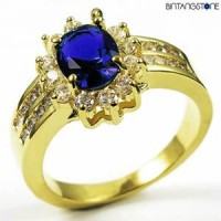 M3G Cincin Import Blue Sapphire 10KT Yellow Gold Plated Ring