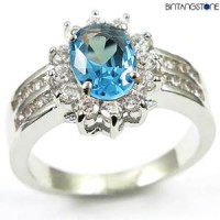 M3W Cincin Import Blue Aquamarine 10KT White Gold Plated Ring