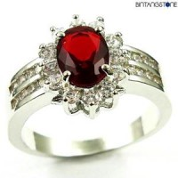 M3W Cincin Import Red Ruby 10KT White Gold Plated Ring
