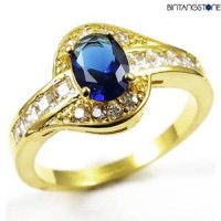 M4G Cincin Import Blue Sapphire 10KT Yellow Gold Plated Ring