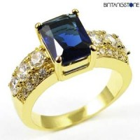 M5G Cincin Import Blue Sapphire 10KT Yellow Gold Plated Ring