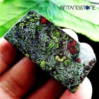 Dragon Bloodstone Africa Natural 88.35 Cts Pendant Blood Red Green Rectangle Liontin Batu Alam Asli Bentuk Kotak