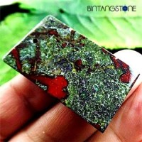 Dragon Bloodstone Africa Natural 69.0 Cts Pendant Blood Red Green Rectangle Liontin Batu Alam Asli Bentuk Kotak