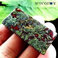 Dragon Bloodstone Africa Natural 77.45 Cts Pendant Blood Red Green Rectangle Liontin Batu Alam Asli Bentuk Kotak