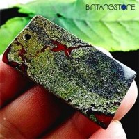 Dragon Bloodstone Africa Natural 71.55 Cts Pendant Blood Red Green Rectangle Liontin Batu Alam Asli Bentuk Kotak