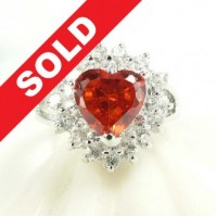 Cincin Ruby Quartz Hearts Gem - 925 Sterling Silver
