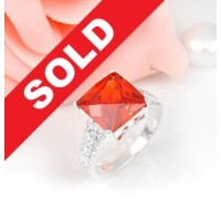 Cincin Wanita Import Natural Fire Red Garnet 28.20 Cts Size 8