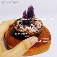 Amethyst Chevron Rough in Wood Bowl Mix Quartz Crystal Healing Batu Bongkahan Kecubung Ungu Dekorasi Pajangan Aura Room Energy Booster Suiseki Biseki Teak Palm Kayu Jati Aren