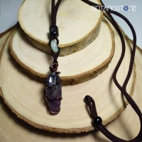 Amethyst Brazil Copper Wire Wrap Necklace Chevron Dream Raw Rough Quartz Healing Crystal Pointer Specimen Kalung Terapi Kesehatan Batu Kecubung Ungu Lilit Kawat Tembaga 02